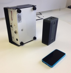 Left: Terrawave survey battery pack Middle: Tracer battery Right: iPhone 5C (for scale)