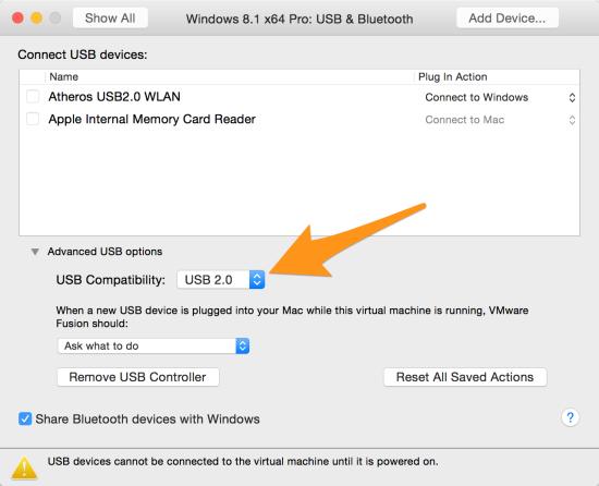 USB 2.0 setting